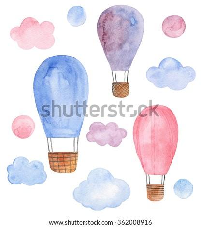 Watercolor balloon . Balloon isolated . Watercolor travel . Air balloon illustration . Balloon in sky . Air balloon isolated . Watercolor clip art . Air balloon watercolor - stock photo