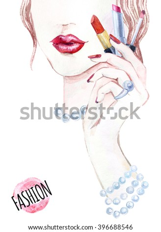Watercolor beautiful face. woman portrait with lipstick in the hand. Hand painted watercolor fashion background - stock photo