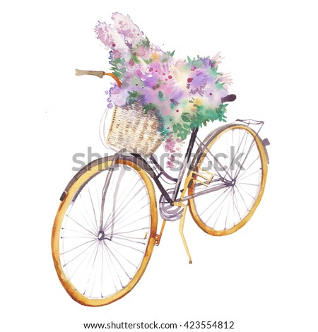 Watercolor bicycle with flowers bouquet. Hand painted transport object with floral decor isolated on white background. - stock photo