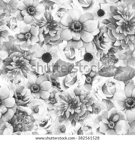 Watercolor Black And White Flowers Seamless Pattern Hand Painted Artistic Texture With Peony Roses