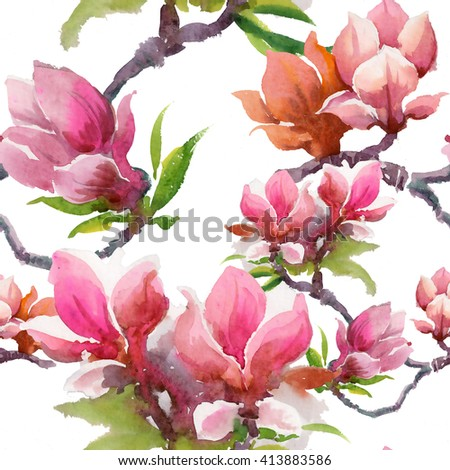 Watercolor blooming magnolia flowers seamless pattern on white background  - stock photo
