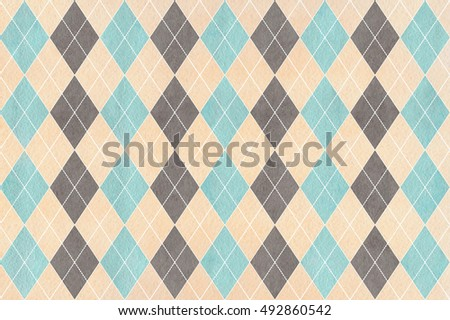 Watercolor blue, beige and gray diamond pattern. Geometrical traditional ornament for fashion textile, cloth, backgrounds.