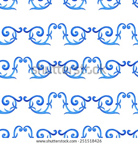Watercolor blue floral seamless pattern with swirling ornament on white background. Russian gzhel style - stock photo