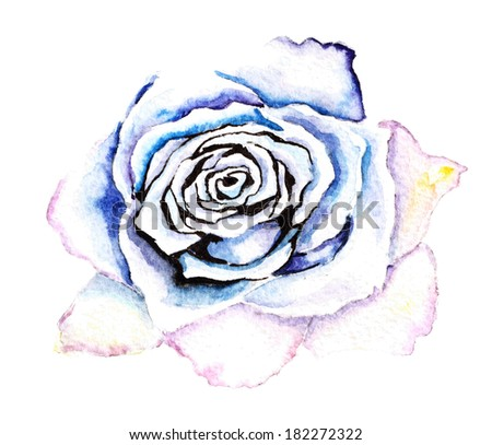 watercolor blue flower on a white background - stock photo