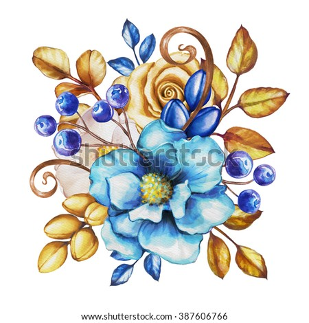 Watercolor Blue Flowers And Gold Leaves Festive Bunch Of Floral Decoration Isolated