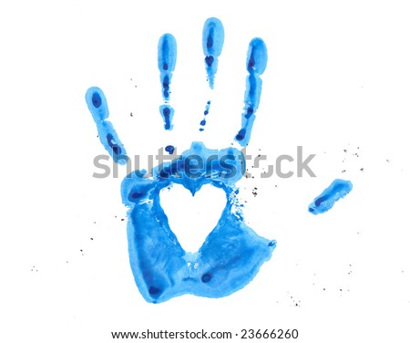 Watercolor blue hand - stock photo