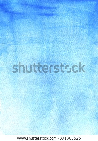 Watercolor blue sky texture on white background. Hand drawn abstract paint texture. Raster vertical background.