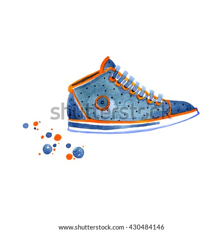 Watercolor blue sneakers with dot on white background - stock photo