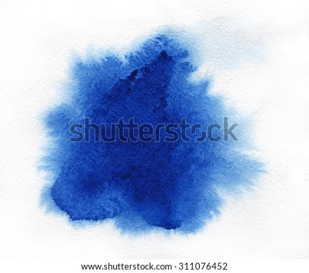 Watercolor. Blue spot on watercolor paper. Abstract blue spot on white background. Ink drop. - stock photo