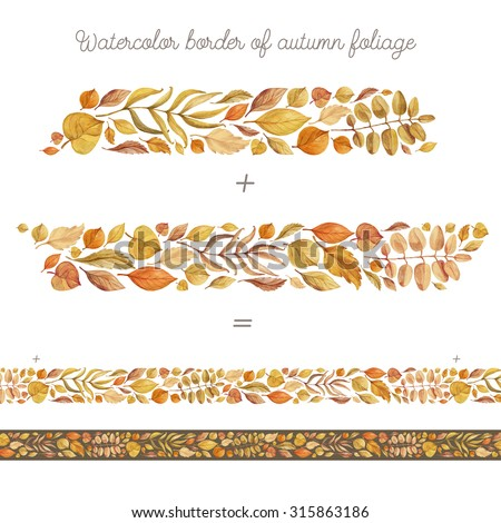 Watercolor border of autumn foliage. Design elements with autumn bright leaves. Autumn decor. - stock photo