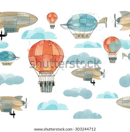 watercolor border of vintage zeppelin and balloon - stock photo