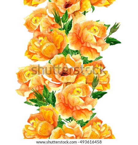 Watercolor Botanical Pattern Rose Flowers Green Leaves Yellow Roses White Background