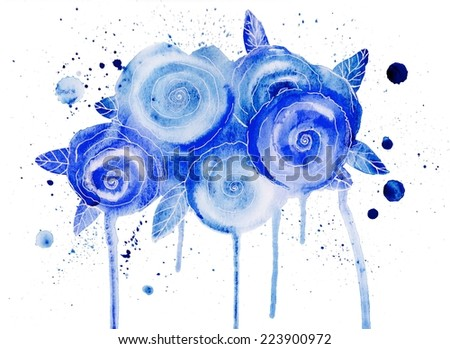 Watercolor bouquet of flowers. Hand drawn illustration. Sketch. Beautiful blue flowers, Watercolor painting. Floral water-colour background. Vintage. Retro style - stock photo