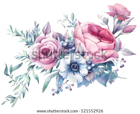 Watercolor bouquet of flowers. Hand painted colorful floral composition isolated on white background. Vintage style peony, roses, anemone, berries and leaves posy.