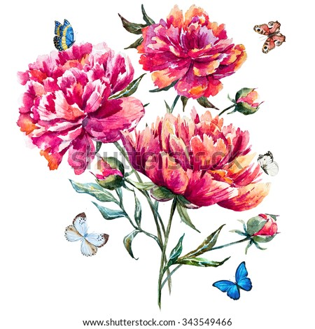 watercolor bouquet of peonies, red peony, botanical card, pink flowers, butterflies,butterfly sitting on a flower - stock photo