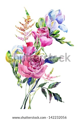 Watercolor bouquet with roses - stock photo