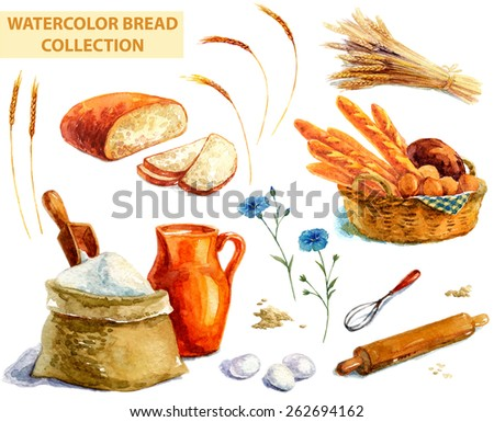 Watercolor bread collection over white - stock photo