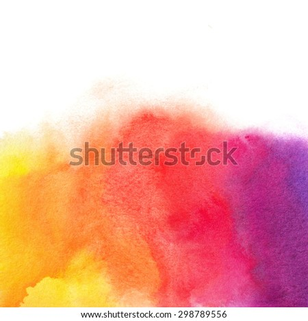 Watercolor bright hand painted background. Template for your design - stock photo