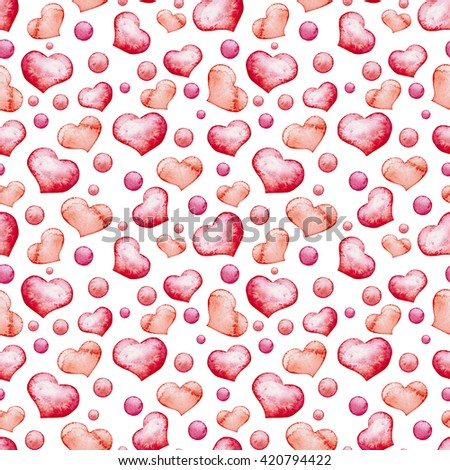 Watercolor Bright Pink Hearts And Spots Seamless Pattern