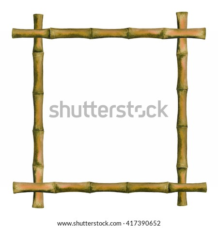 Watercolor brown bamboo frame, isolated on white background. Hand painting on paper