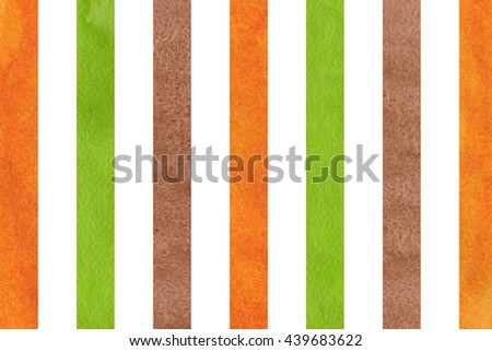 Watercolor brown, orange and green striped background. Abstract watercolor background with brown, orange and green stripes.