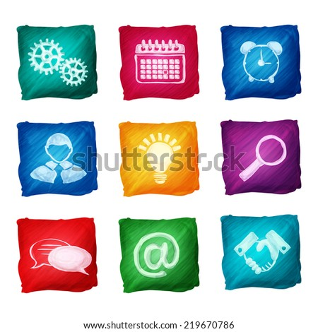 Watercolor business icons set of handshake lightbulb alarm clock isolated  illustration.