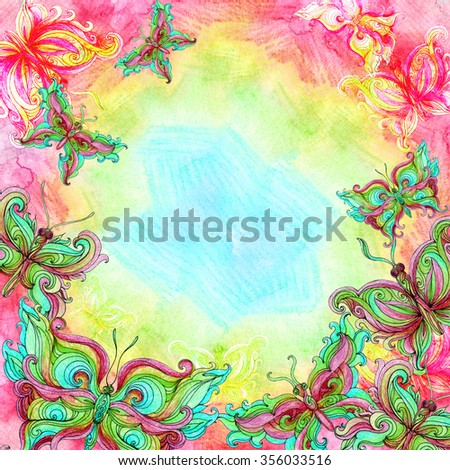 Watercolor butterfly background in bright colors. Colorful sky background with butterflies. Hand painted illustration. - stock photo
