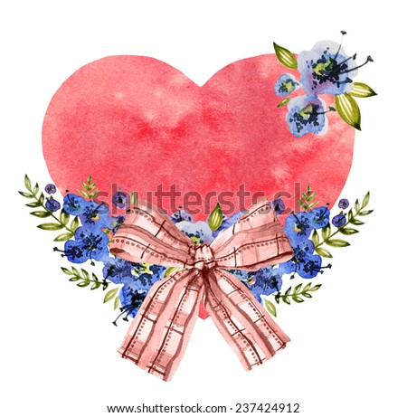watercolor card with heart, bow and flowers