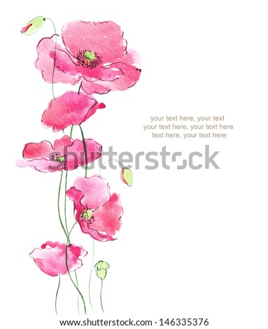 Watercolor card with poppies flowers