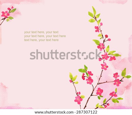 watercolor card with spring cherry blossoms and place for text - stock photo