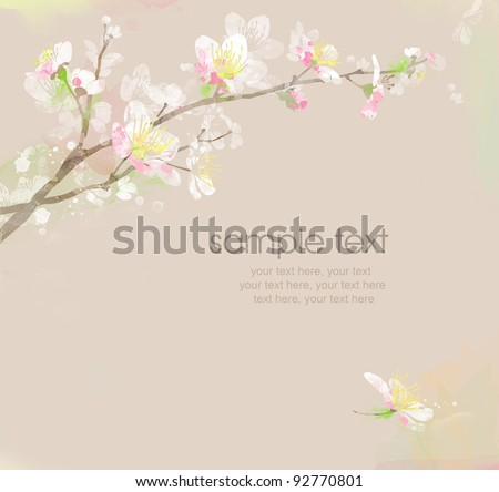 watercolor card with spring cherry blossoms and text - stock photo