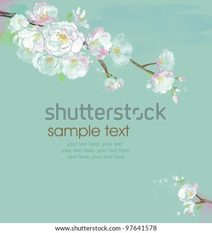 watercolor card with spring cherry blossoms and text