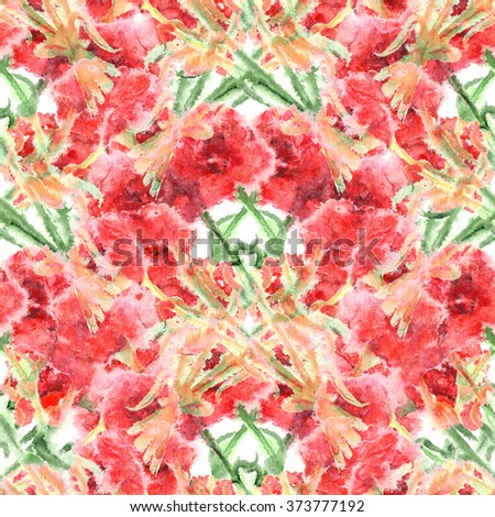Watercolor carnation clove red flower seamless pattern texture