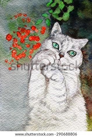 watercolor cat hand drawn on paper