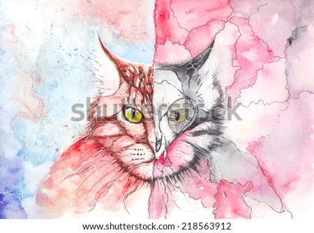 watercolor cat showing the duality of nature - stock photo
