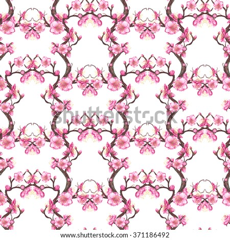 Watercolor Cherry, Plum, Peach blossom seamless pattern on white background. Brown, Pink & White backdrop. Cloth & rug design. Oriental Style. Hand drawn illustration.