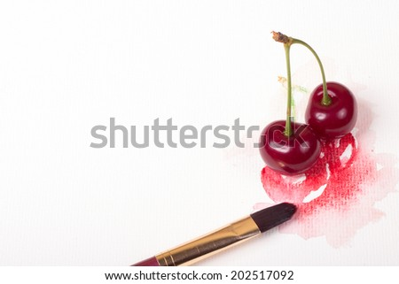 watercolor cherry with fruits