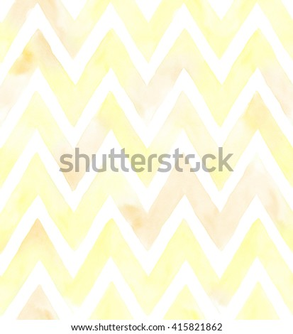 Watercolor chevron of yellow color with white background. Seamless pattern - stock photo