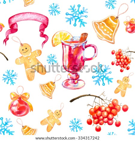 Watercolor Christmas and New Year seamless background with ginger biscuits , mulled wine, rowan, snowflakes and Christmas ball.  - stock photo