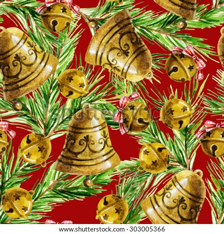 Watercolor christmas bell background - stock photo