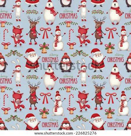 Watercolor christmas illustrations. Seamless pattern - stock photo