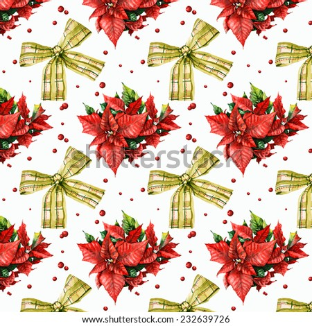watercolor Christmas pattern with bow, poinsettia and berries - stock photo
