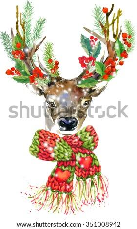 watercolor Christmas reindeer. T-shirt graphics. watercolor winter holidays background. illustration Christmas tree, reindeer, mistletoe branch, mistletoe berry, snowflake. Holiday Design  - stock photo