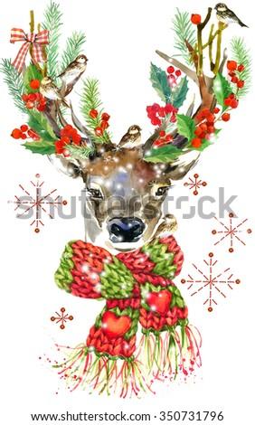 watercolor Christmas reindeer. watercolor winter holidays background. illustration Christmas tree, reindeer, mistletoe branch, mistletoe berry, snowflake. Holiday Design  - stock photo
