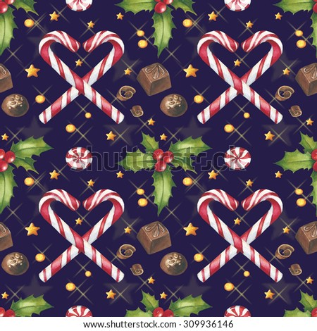 Watercolor Christmas seamless pattern with candy cane, candies, stars and mistletoe - stock photo