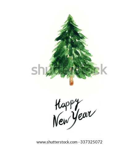 watercolor  Christmas tree - stock photo