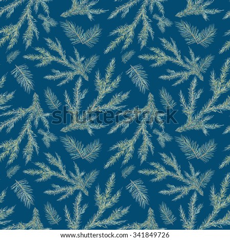 Watercolor Christmas tree branches seamless pattern. Hand painted texture with fir-needle natural elements isolated on blue background. Winter wallpaper - stock photo