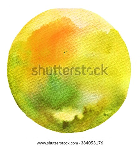 Watercolor circle palette. Watercolor Yellow and Green stain isolated on white background.  - stock photo