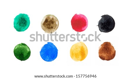 Watercolor circle shape design elements - stock photo