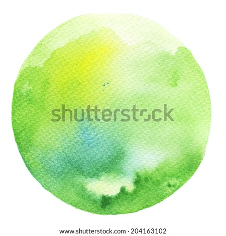 Watercolor circle. Watercolor stain isolated on white background.